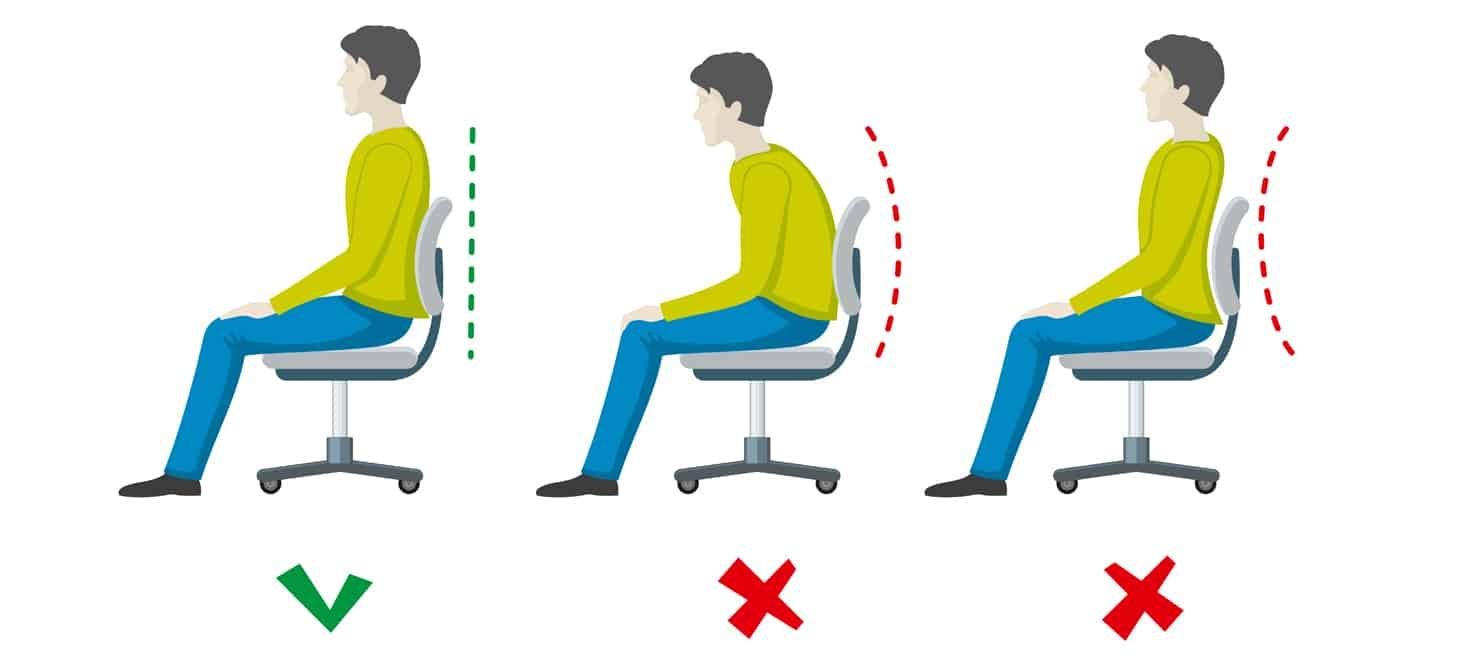 Posture corrette ed errate su sedia da ufficio